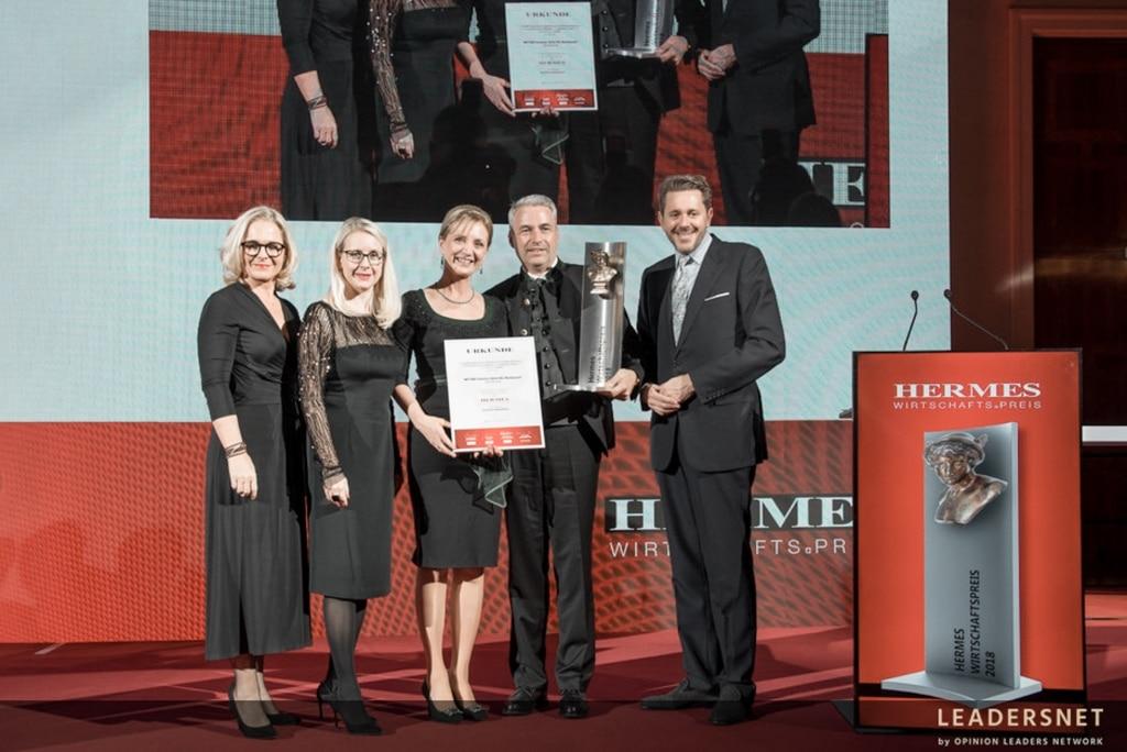 Familie Retter freut sich über die Verleihung des Hermes Wirtschaftspreis 2018