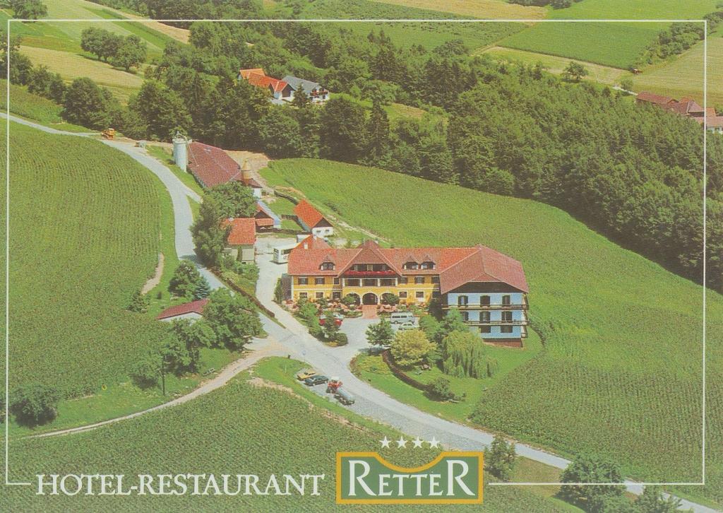 Luftbild und Postkarte des Retters