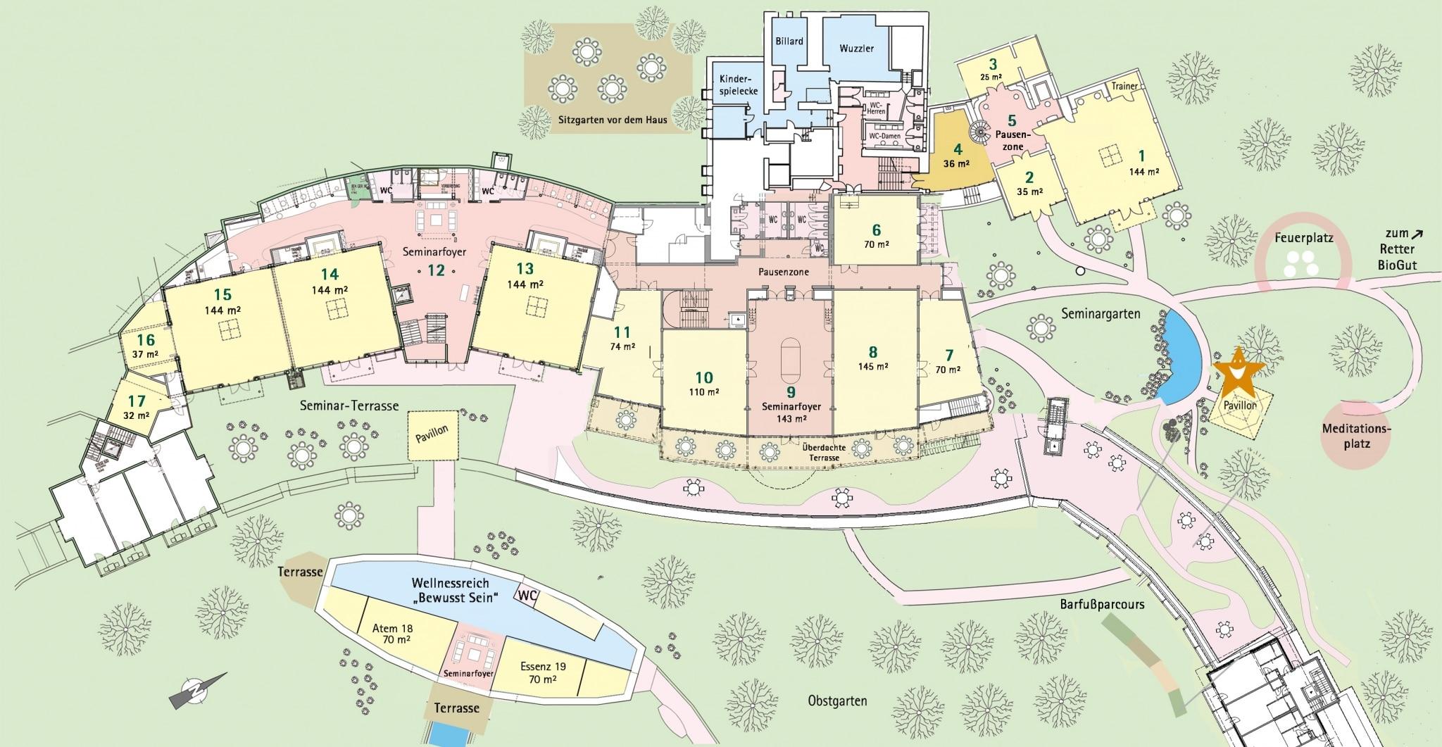 Karte von Seminarhotel Retter mit Einzeichnung beim Pavillon