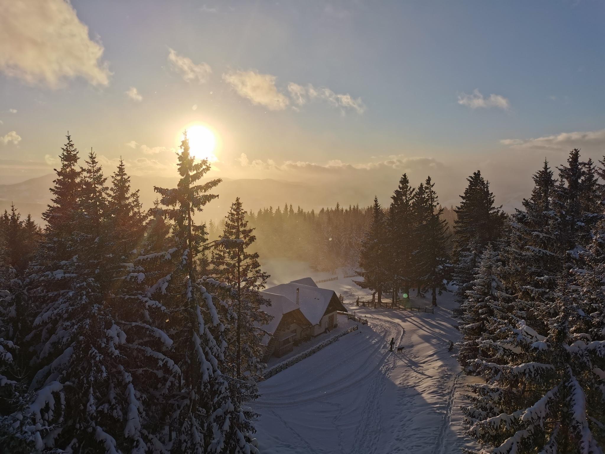 Winterlandschaft mit Sonnenuntergang auf Ausflugsziel Wildwiese